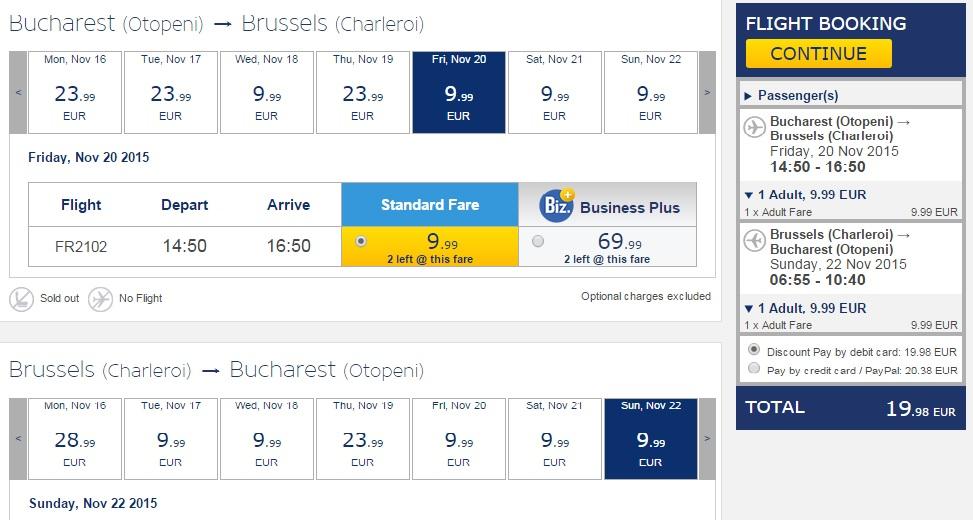 Bucuresti - Bruxelles Charleroi
