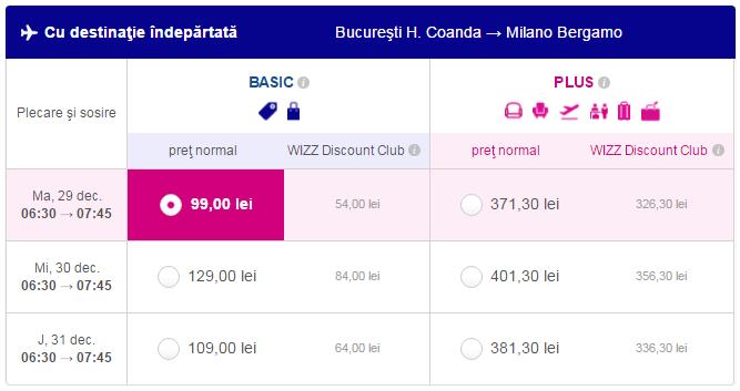 Zboruri de Revelion Bucuresti - Milano